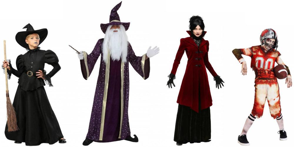Disfraces tradicionales de Halloween: bruja, mago, vampiro y zombi